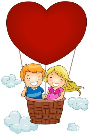 hot couple: Illustration of Kids Riding a Valentine-themed Hot Air Balloon