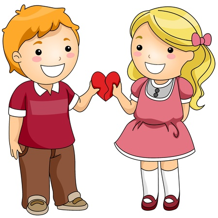Illustration of a Boy and a Girl Combining Two Heart-shaped Puzzle Pieces illustration
