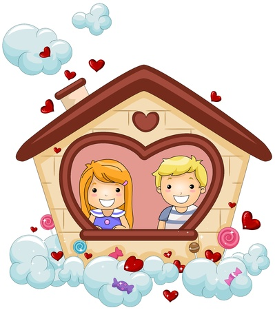 puppy love: Illustration of Kids Looking From the Window of a Heart-shaped House