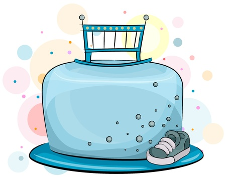 Illustration of a Baby Boy Birthday Cake with a Masculine Theme Stock Illustration - 8549997