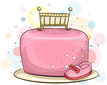 Illustration of a Baby Girl Birthday Cake with a Feminine Theme illustration
