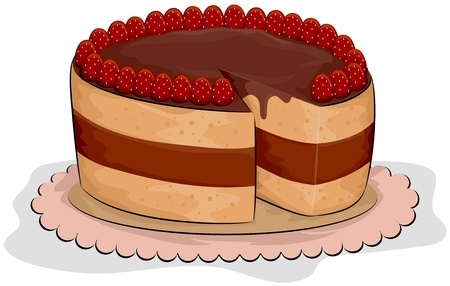 Illustration of a Cake with Strawberries on Top Stock Illustration - 8549998