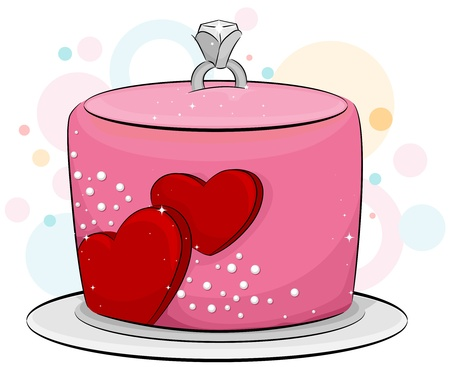 Illustration of an Engagement Cake with an Engagement Ring on Top illustration