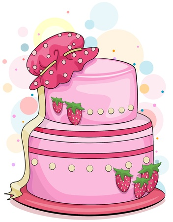 Illustration of a Strawberry Cake with a Baby Bonnet on Top Stock Illustration - 8550054