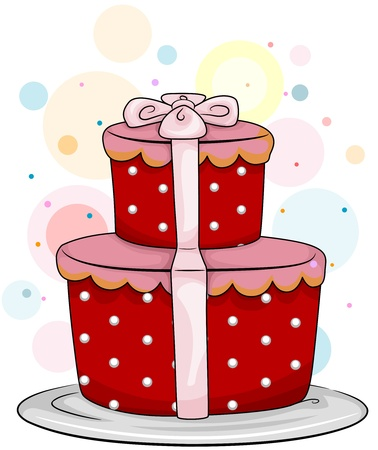 Illustration of a Cake Shaped like a Gift Stock Illustration - 8550014