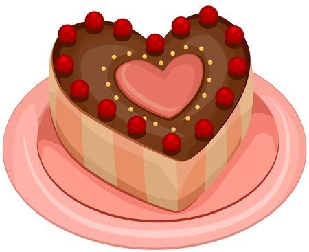 Ilustración de un pastel en forma de corazón con cerezas en la parte superior Foto de archivo - 8549995