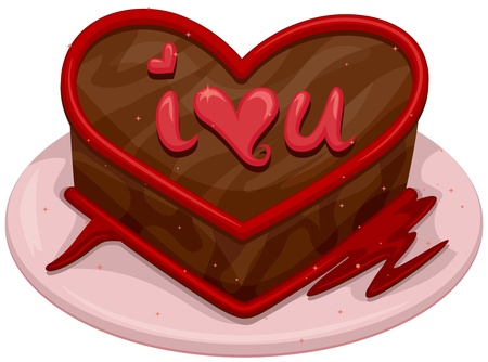 Illustration of a Chocolate Cake with a Romantic Message Written on Top Stock Illustration - 8550006