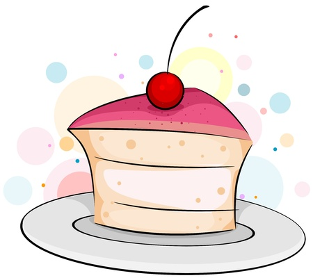 Illustration of a Slice of Cake with a Cherry on Top illustration