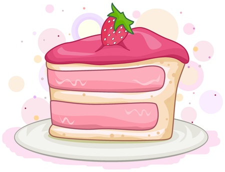 Illustration of a Slice of Cake with a Strawberry on Top illustration