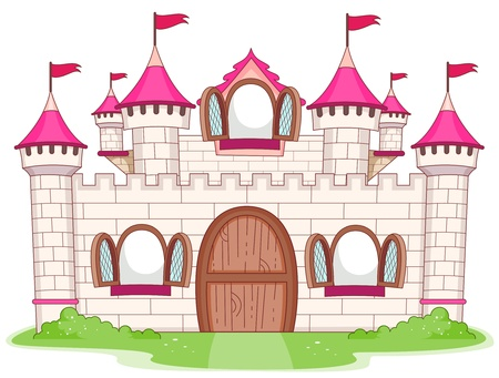 castle cartoon: Illustration of a Large Castle with Open Windows