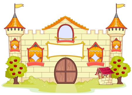 kingdoms: Illustration of a Large Castle with Partially Open Windows Stock Photo