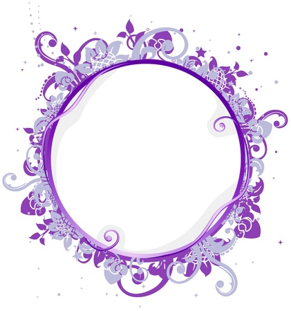 adorned: Illustration of a Circular Frame Adorned with Vines Stock Photo