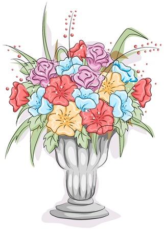 Illustration of a Vase Full of Flowers illustration