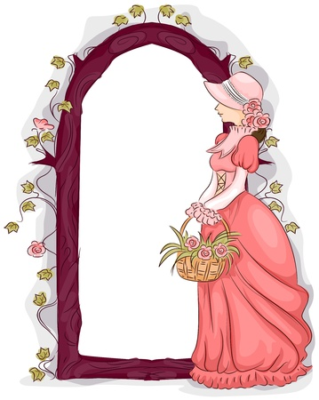 Illustration of a Frame Featuring a Woman in Victorian Era Clothing