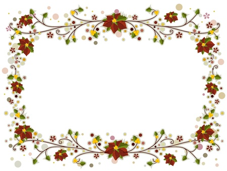 frame flower: Illustration of a Christmas Frame Adorned with Poinsettia and Vines