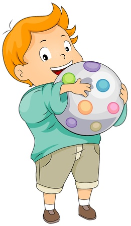 schooler: Illustration of a Boy Holding a Colorful Ball Stock Photo