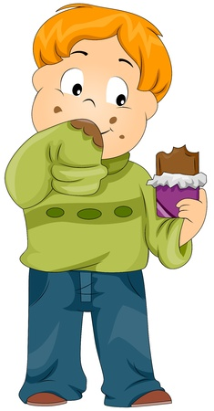 eating chocolate: Illustration of a Kid Smearing His Sweater with Chocolate