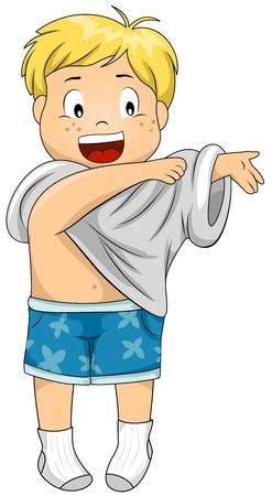 changing clothes: Illustration of a Kid Dressing Himself Up