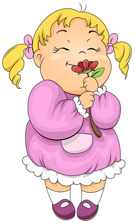 smell: Illustration of a Little Girl Smelling a Flower