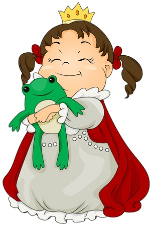 Illustration of a Kid Dressed as a Princess Hugging a Toy Frog illustration