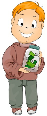 thrifty: Illustration of a Kid Holding a Jar Filled with Money