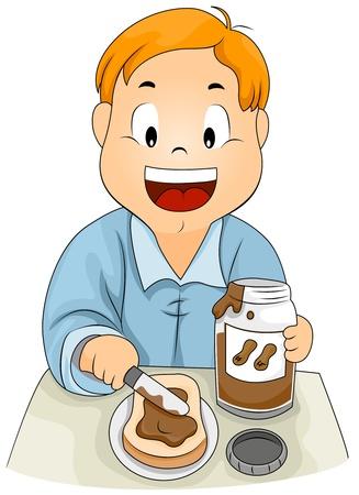 breakfast sandwich: Illustration of a Kid Spreading Peanut Butter on His Sandwich
