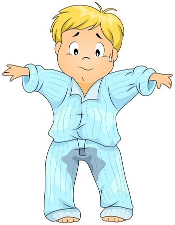 pee: Illustration of a Kid Who Wet His Pajamas
