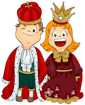 Illustration of a Boy and Girl Dressed as a King and Queen