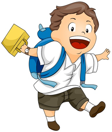schooler: Illustration of a Kid Swinging His Lunchbox While Walking