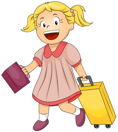 grade schooler: Illustration of a Female Student Dragging Her Bag with One Hand and Carrying a Lunchbox with the Other Stock Photo