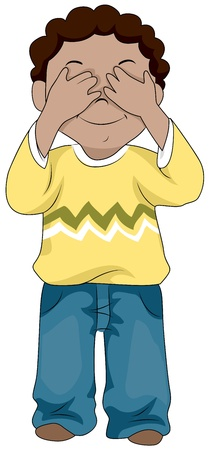 covering eyes: Illustration of a Little Boy Covering His Eyes Stock Photo