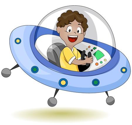 platillo volador: Ilustraci�n de un peque�o Kid operan un platillo volador