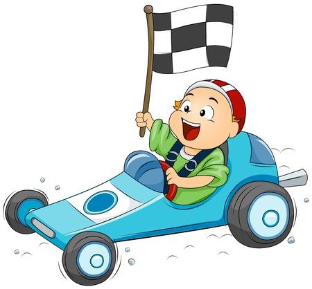 cartoon car: Ilustraci�n de un ni�o a participar en un concurso de Go Kart