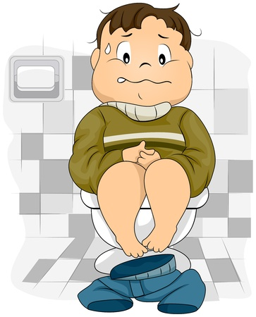 ibs: Illustration of a Constipated Kid Sitting on a Toilet Bowl Stock Photo