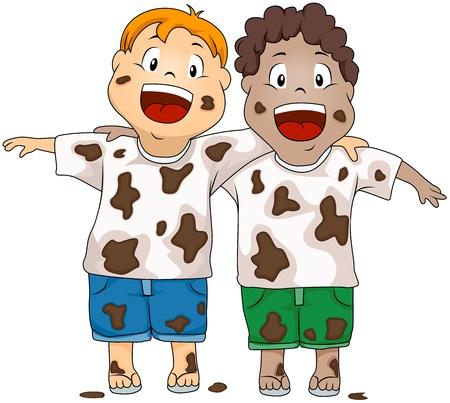 playmates: Ilustración de niños sucios sonriendo felizmente Foto de archivo