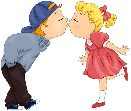 girls kissing: Illustration of a Boy and Girl About to Share a Kiss Stock Photo