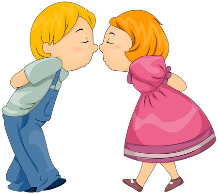 puppy love: Illustration of Kids Rubbing Their Noses Together Stock Photo