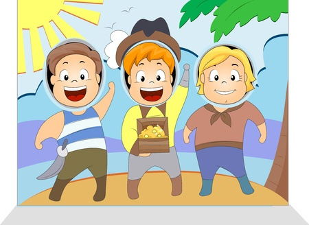 Illustration of Kids Having Their Picture Taken illustration
