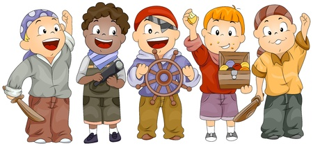 role play: Illustration of Kids In Pirate Costumes Complete with Accessories Stock Photo