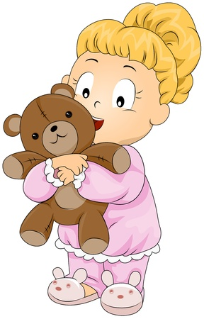 cuddly: Illustration of a Little Girl Hugging a Teddy Bear Stock Photo