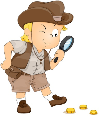 clues: Illustration of a Little Boy on a Treasure Hunt Stock Photo