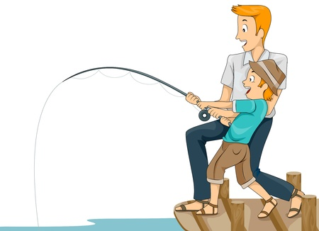 hombre pescando: Ilustraci�n de un padre que ense�ar a su hijo c�mo peces
