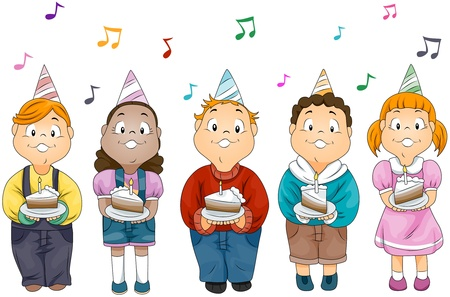 cake slice: Illustration of Kids Holding Slices of Cake with Birthday Candles on Top Stock Photo
