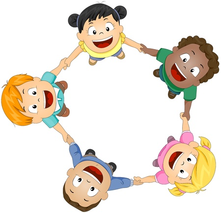 camaraderie: Illustration of Kids Joining Hands to Form a Circle