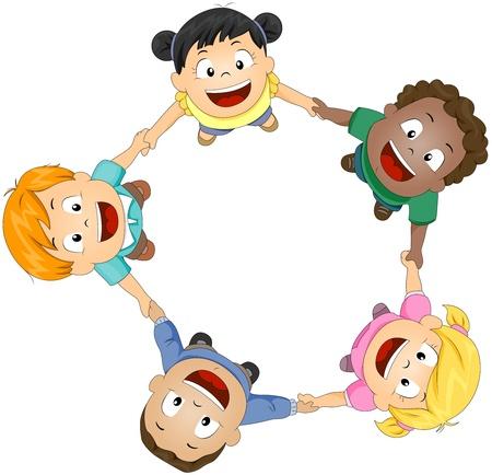 girotondo bambini: Illustrazione di ragazzi che unisce le mani per formare un cerchio