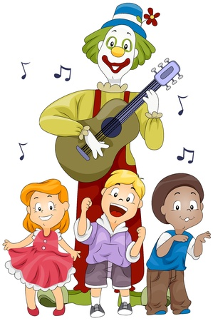 Illustration of Kids and a Clown Singing and Dancing the Birthday Song to the Accompaniment of a Guitar illustration