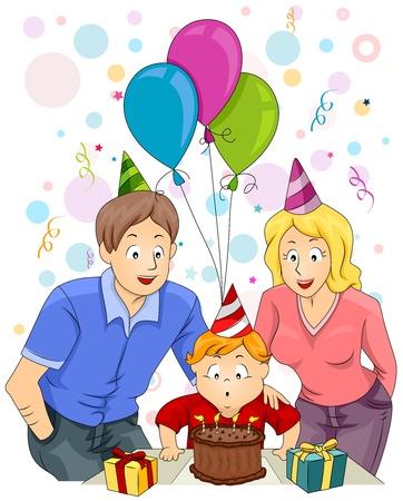 Illustration of a Happy Family Celebrating the Child's Birthday Stock Illustration - 8614185