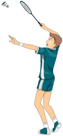 athleticism: Illustration of a Teenage Boy Playing Badminton Stock Photo