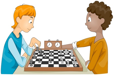 chess game: Illustration of a Pair of Teenagers Having a Chess Match Stock Photo