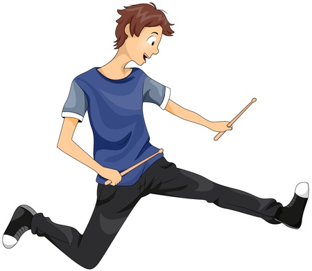 drumsticks: Illustration of a Teenage Boy Playing with Drumsticks